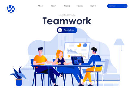Teamwork flat landing page design. Colleagues sitting at desk and discussing ideas or brainstorming scene with header. Business meeting, formal negotiation or conference. Work process situation. Ilustrace