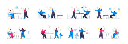 Bundle of people confrontation scenes. Conflict and disagreement at work, people shouting each over, couple arguing and yelling flat vector illustration. Bundle of with people characters in situations