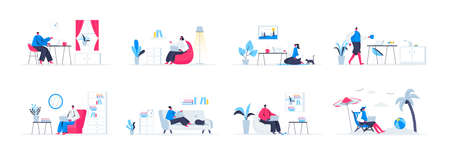 Bundle of freelance work scenes. Freelancer working with laptop in comfortable conditions at home, self-employed occupation flat vector illustration. Bundle of with freelancer characters in situations