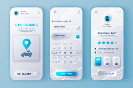 Car booking unique neomorphic design kit for mobile app neomorphism style. Online rent car order screens with prices. Car sharing service UI, UX template set. GUI for responsive mobile application.