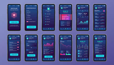 Cryptocurrency unique design kit for mobile app. Bitcoin mining screens with progress charts and financial analytics. Cryptocurrency platform UI, UX templates. GUI for responsive mobile application.