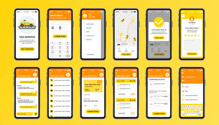 Taxi service unique design kit for mobile app. Online taxi booking screens with route, chat, rating and taxi fare. Transportation service UI, UX template set. GUI for responsive mobile application. Vectores