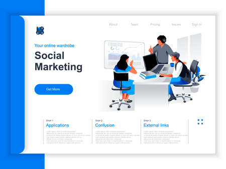 Social marketing isometric landing page. Marketing team brainstorming with infographics in office situation. Marketing research and presentation, SMM and SEO technologies perspective flat design. Иллюстрация