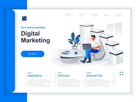 Digital marketing isometric landing page. Marketer working with laptop in office situation. Digital marketing, SMM and SEO, website content promotion and social media manage perspective flat design.