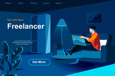 Freelance job isometric landing page. Young man working with laptop at home office website template. Remote work at company and self-employed occupation perspective flat design. Vector illustration.