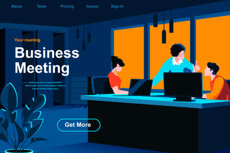 Business meeting isometric landing page. Team of colleagues discussing project in office website template. Corporate teamwork, data analyzing and strategy planning perspective flat vector illustration