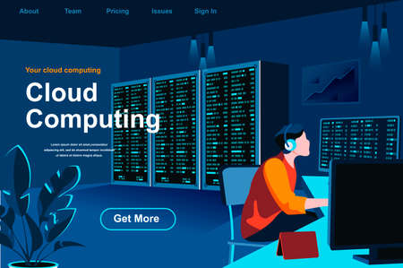 Cloud computing isometric landing page. IT specialist working in server room website template. Hosting platform technology, data structuring and classification perspective flat vector illustration. Vektorgrafik