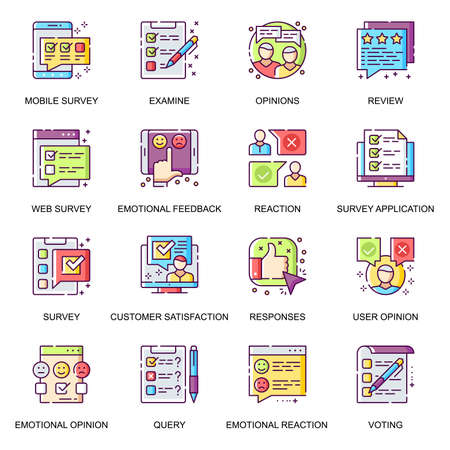 Internet survey flat icons set. Exam and query, user opinion, mobile voting and review, customer satisfaction, emotional feedback line pictograms for mobile app. Survey application vector icon pack.