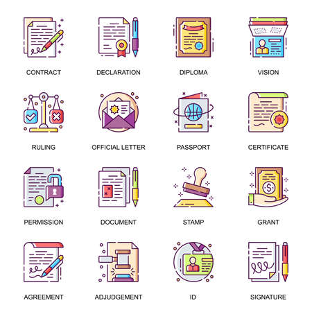 Legal documents flat icons set. Contact, agreement, declaration, diploma, certificate, official letter, passport and grant line pictograms for mobile app. Paperwork and documentation vector icon pack.
