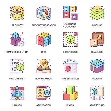 Abstract product flat icons set. Product research, component and module, extensible and scalable system, advertising and presentation line pictograms for mobile app. Complex solution vector icon pack.