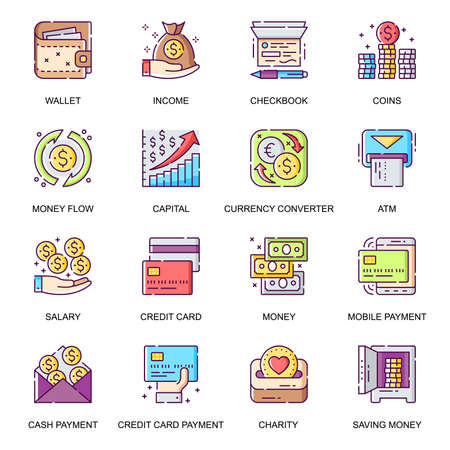 Money management flat icons set. Credit card payment, currency converter, online wallet, money flow, checkbook, salary and charity line pictograms for mobile app. Capital saving vector icon pack.