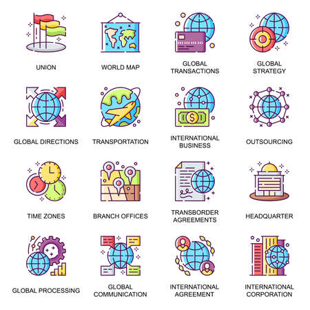 Global business flat icons set. Transborder agreement, world transportation and communication, processing, direction, outsourcing line pictogram for mobile app. International business vector icon pack