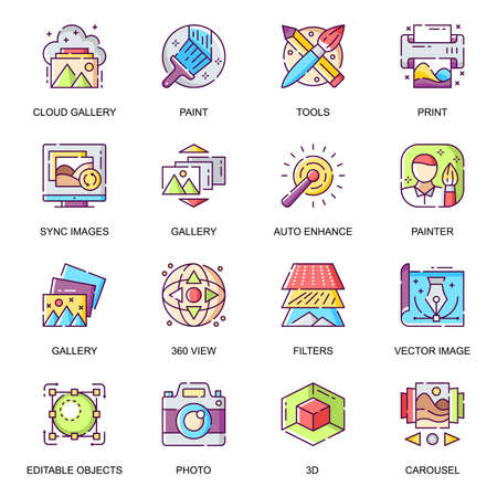 Images gallery flat icons set. Auto enhance, creative application, art tools and filters, vector image, sync images, photo and painting line pictograms for mobile app. Cloud gallery vector icon pack. Vektorgrafik