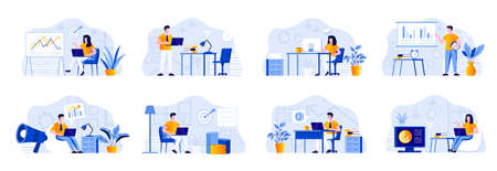 Marketing department bundle with people characters. Marketers working with laptops and doing presentation with diagrams in office situations. Marketing research and analysis flat vector illustration.
