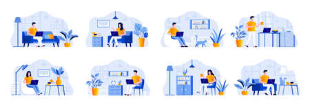 Freelance scenes bundle with people characters. Freelancer working with laptop in comfortable conditions at home office situations. Distance working, self-employed occupation flat vector illustration. Illustration
