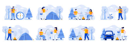 Camping scenes bundle with people characters. Mushroom hunting, traveling with backpack and camping tent, marshmallow roasting on campfire, fishing situations. Summer camping flat vector illustration.