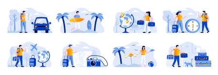 Travel vacation scenes bundle with people characters. Tourists traveling by car or plane, couple with luggage, surfer with surfboard situations. Summer holidays and activity flat vector illustration