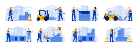 Construction site scenes bundle with people characters. Welder, painter, metalworker and bricklayer in hardhat at work situations. Professional engineering and building flat vector illustration