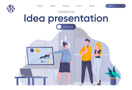 Idea presentation landing page with header. Woman making business presentation with diagrams before colleagues in office scene. Coworking, teamwork and creativity situation flat vector illustration.