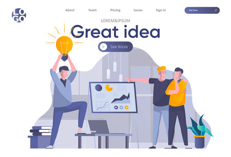 Great idea landing page with header. Man presenting new great idea before investors, startup team brainstorming in office scene. Coworking, teamwork and creativity situation flat vector illustration.