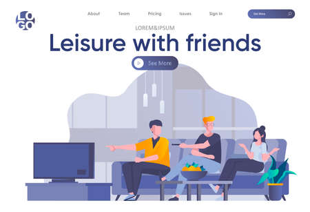Leisure with friends landing page with header. Friends watching TV and talking in sofa scene. Weekend entertainment, students relax and spending time together situation flat vector illustration.