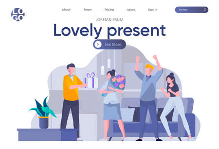 Lovely present landing page with header. Friends celebrating birthday and giving gift to girl scene. People relationships and friendship, happy birthday congratulation flat vector illustration. Ilustración de vector