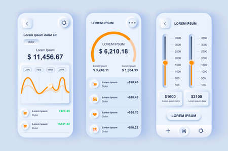 Smart finance manager neumorphic design kit. Budgeting app for financial planning and control, bank accounts monitoring. Online banking UI, UX template set. GUI for responsive mobile application.