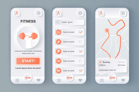 Fitness monitor unique neumorphic design kit for mobile app. Personal tracker with running route on map, different kinds of workouts. Sport UI, UX template set. GUI for responsive mobile application.