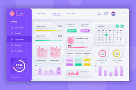 Neumorphic dashboard UI kit. Admin panel vector design template with infographic elements, HUD diagram, info graphics. Website dashboard for UI and UX design web page. Neumorphism style. Vettoriali