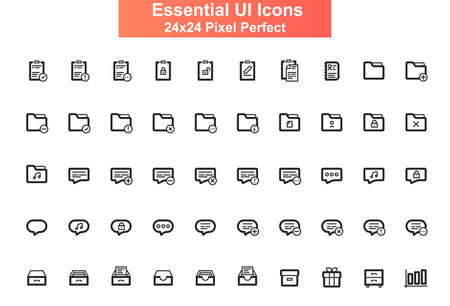 Essential UI icons set. Organization and administration line pictograms for website and mobile app GUI. Documents processing simple UI, UX elements. 24x24 grid pixel perfect vector lined icon pack.
