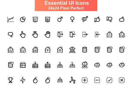 Essential UI icons set. Cloud storage, hosting and administration line pictograms for mobile app GUI. Business infographics simple UI, UX elements. 24x24 grid pixel perfect vector lined icon pack. Vector Illustratie