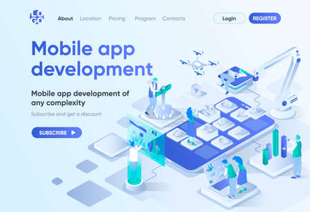 Mobile app development isometric landing page. UI UX responsive design, front end and back end development. Mobile software template for CMS and website builder. Isometry scene with people characters. Vectores