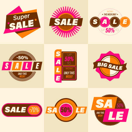 Set of retro sale badge. Stickers premium quality vintage style for social media ads and banners, website badges, marketing, labels and stickers for online shopping templates. Vector illustration.