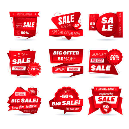 Set of retail sale badge. Stickers online shopping origami style for social media ads and banners, website badges, marketing, labels and stickers for products promotion template. Vector illustration.
