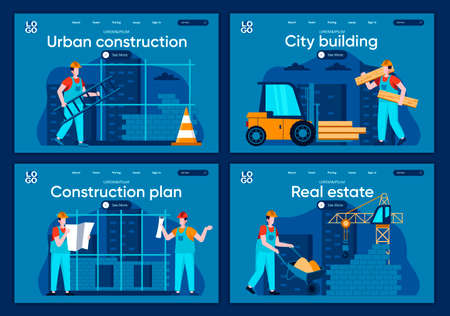 City building flat landing pages set. Professional engineering and building, people working on construction site scenes for website or CMS web page. Real estate, urban construction vector illustration