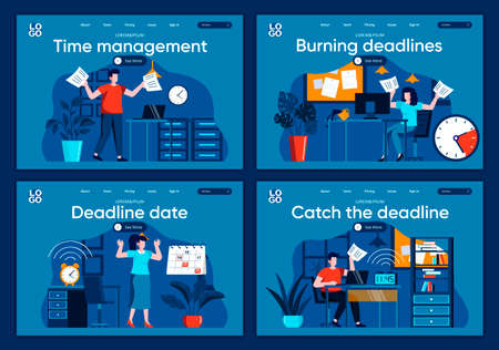 Catch the deadline flat landing pages set. Stressful situation and overtime work, hurrying up with project scenes for website or CMS web page. Time management and burning deadlines vector illustration