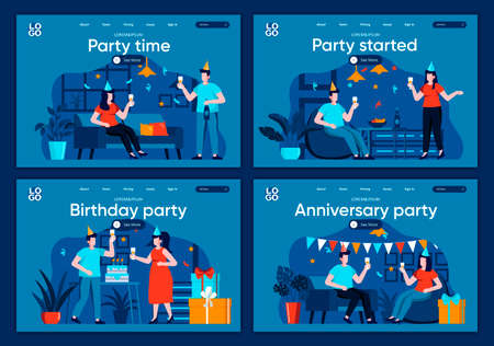Party time flat landing pages set. Friends celebrating, congratulating and gift presenting scenes for website or CMS web page. Party started, anniversary and birthday event vector illustration.