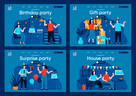 Surprise party flat landing pages set. Festive party at home with friends and decoration scenes for website or CMS web page. Birthday party with gifts and congratulations vector illustration. Ilustracja