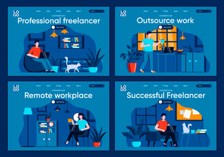 Outsource work flat landing pages set. Designers and developers working in home office scenes for website or CMS web page. Remote workplace, professional and successful freelancer vector illustration