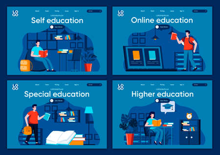 Online education flat landing pages set. Distance learning program in university, students study scenes for website or CMS web page. Self education, special and higher graduation vector illustration. Stock Illustratie