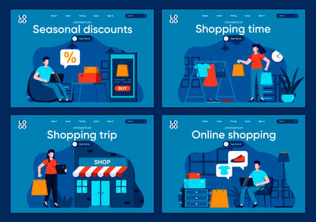 Shopping time flat landing pages set. Internet discount marketplace, online order and delivery at home scenes for website or CMS web page. Seasonal discounts and online shopping vector illustration. 일러스트