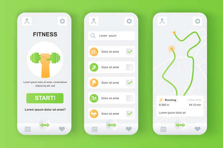 Fitness monitor unique neomorphic design kit for mobile app. Personal tracker with running route on map, different kinds of workouts. Sport UI, UX template set. GUI for responsive mobile application.