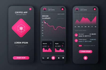 Cryptocurrency unique neomorphic design kit for app.