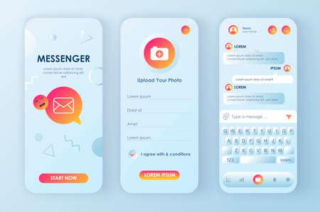 Online messenger unique neomorphic design kit for app.