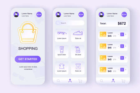 Online shopping unique neomorphic design kit. Store app with products search, purchases description and prices. Internet marketplace UI, UX template set. GUI for responsive mobile application. Vettoriali