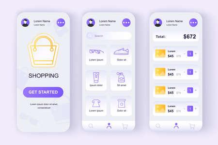 Online shopping unique neomorphic design kit. Store app with products search, purchases description and prices. Internet marketplace UI, UX template set. GUI for responsive mobile application. Ilustração Vetorial