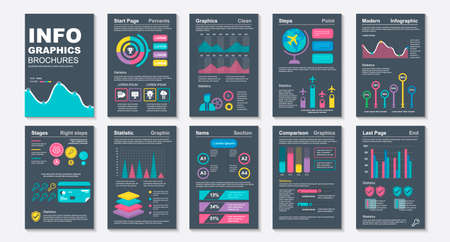 Infographic brochures data visualization vector design template.