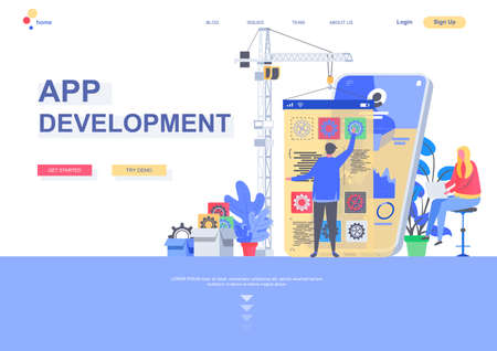 App development flat landing page template. Front end and back end development, developer create mobile application situation. Web page with people characters. Software engineering vector illustration