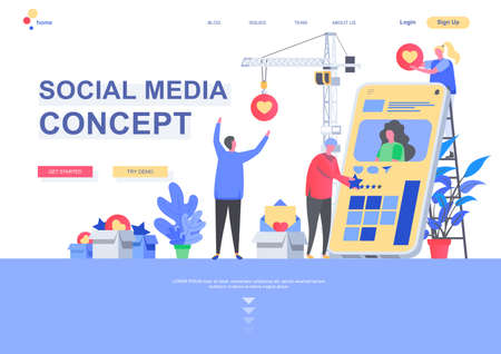 Social media concept flat landing page template. Social media marketing, sharing, comments and following situation. Web page with people characters. Internet community connection vector illustration. Vettoriali
