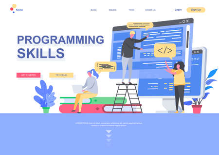 Programming skills flat landing page template. Developers designing and constructing internet application situation. Web page with people characters. Software development vector illustration.